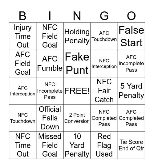 Nick and Donna Super Bowl Bingo Card