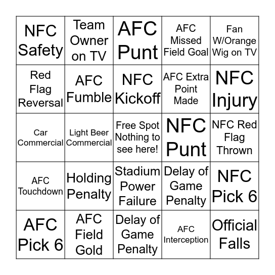 Super Bowl XLIX Bingo      Bingo Card