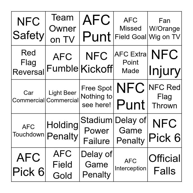 Super Bowl XLIX Bingo      Bingo Card