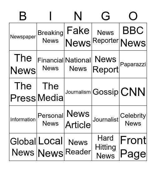 The News Bingo Card
