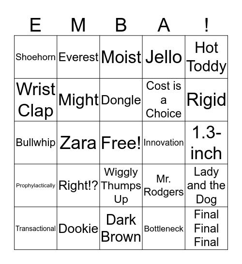EMBA 52 BINGO Card