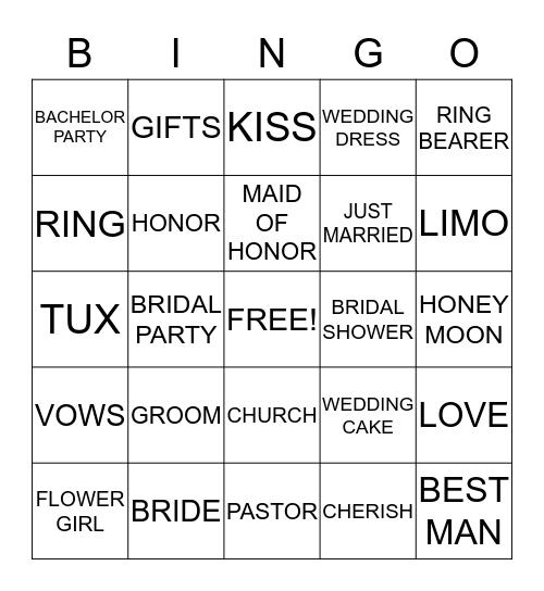 Ciera's Bridal Shower Bingo Card