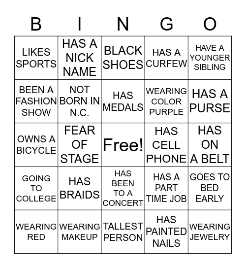 FASHION CAMP & PAGEANT TIME Bingo Card