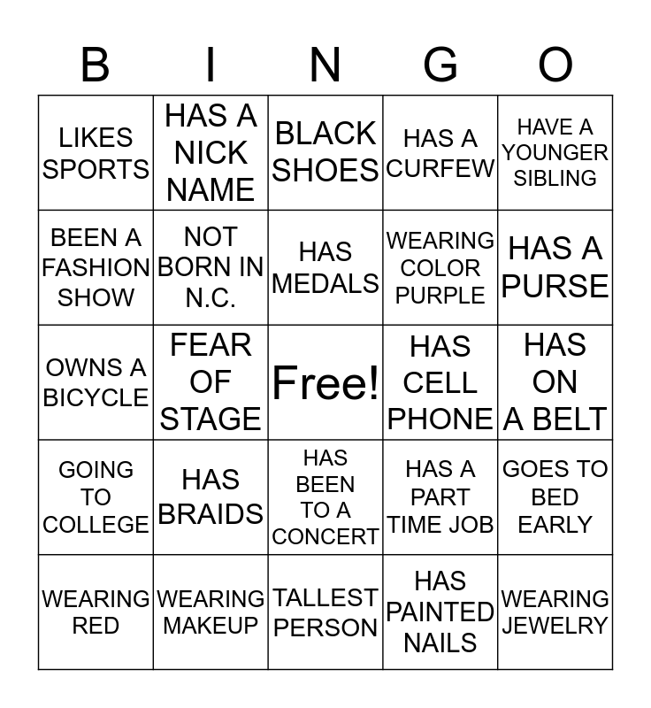 FASHION CAMP & PAGEANT TIME Bingo Card