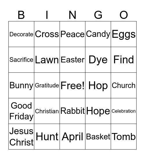 Easter Party - Go-Eigo Mission School Bingo Card
