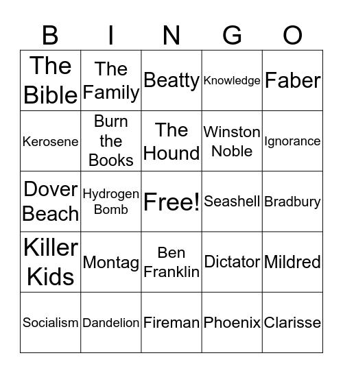 Fahrenheit 451 Bingo Card