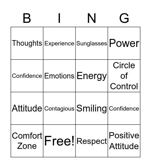 Attitude Bingo  Bingo Card