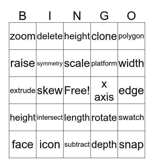 3D Printing Bingo Card