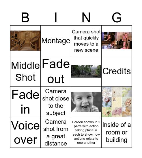 Movie Script Vocabuary Bingo Card