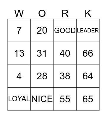 WORK Bingo Card