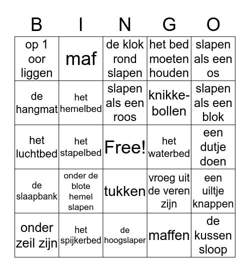 Staal thema: slapen Bingo Card
