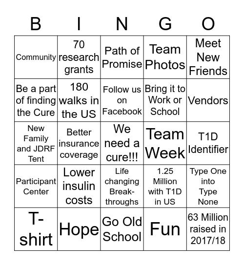 One Walk Bingo Card