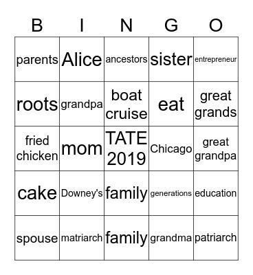 TATE FAMILY REUNION Bingo Card
