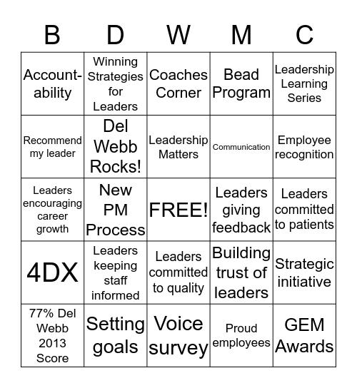 Leadership Effectiveness Bingo Card