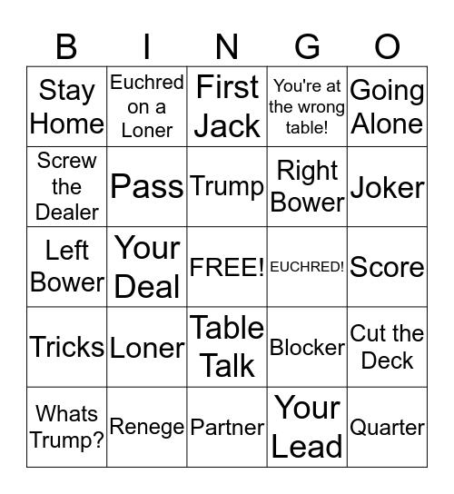 Euchre Bingo! Bingo Card