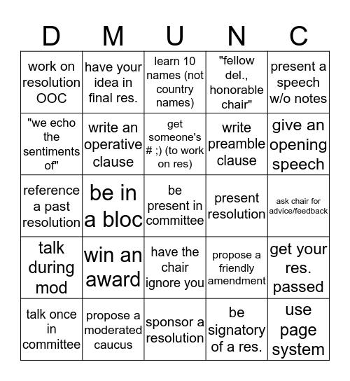 dartmouth participation bingo Card