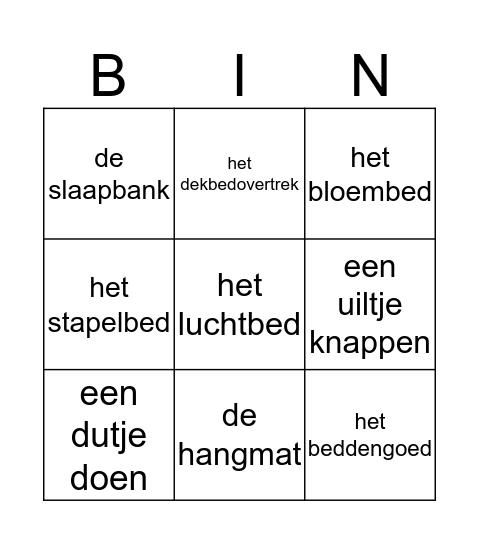 Slapen Bingo Card