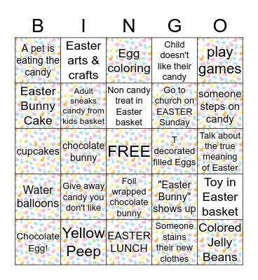 Easter Family Dinner Bingo Card