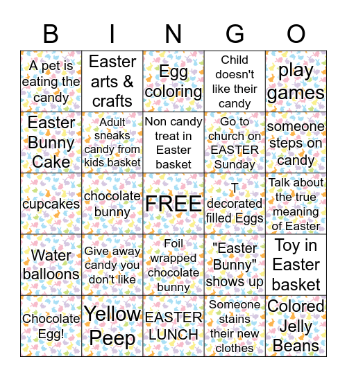 Easter Family Dinner Bingo Card