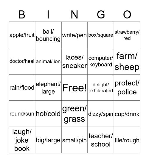Analogies Bingo Card