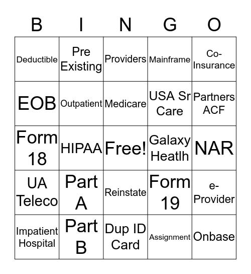UA Medicare Bingo Card