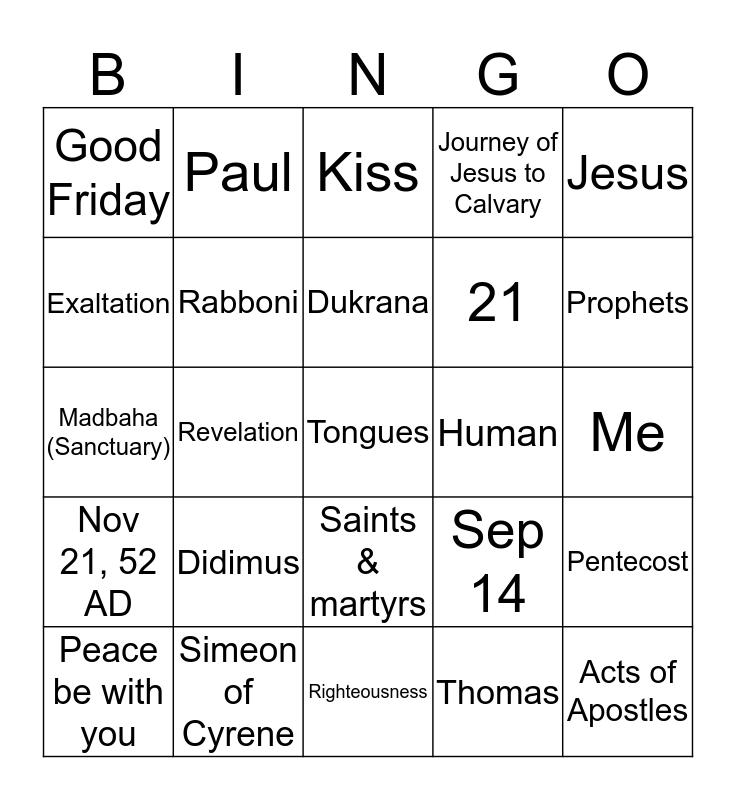 6th Grade CCD - 2nd Semester Bingo Card