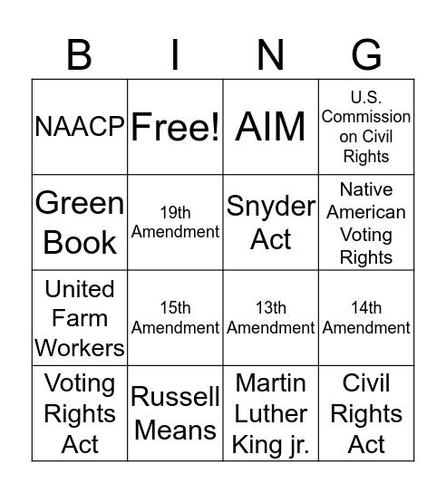 Civil Rights Bingo Card