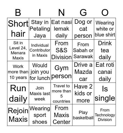 Culture Day 2019 Bingo Card
