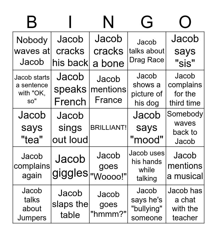 Jacob Mitchell Bingo Card