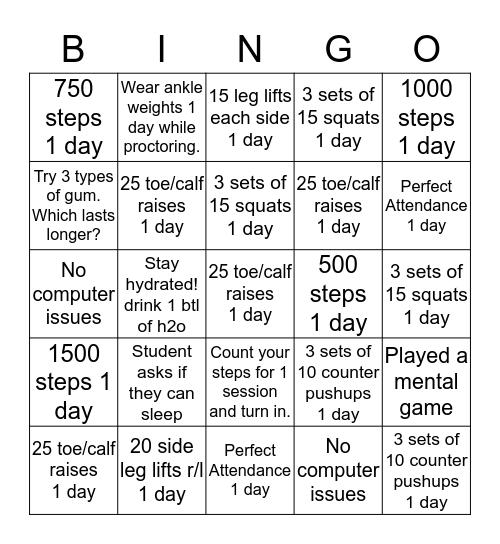 CMAS TEST PROCTORING Bingo Card