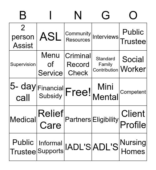 Adult Services Bingo Card