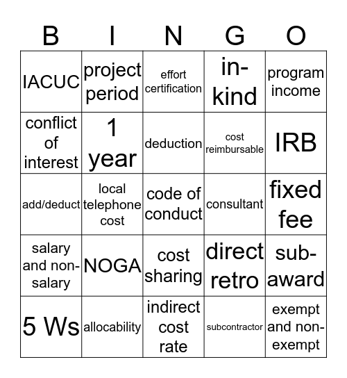 CA Bingo Card