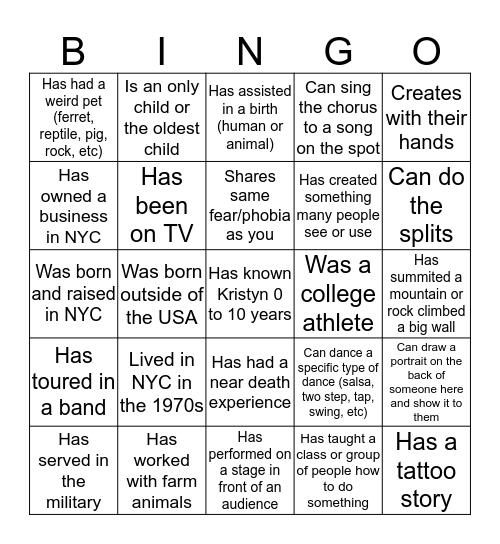Kristyn's 40th Bingo: Find somebody who... Bingo Card
