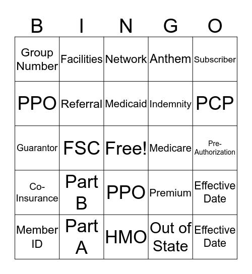 Insurance Registration Bingo Card