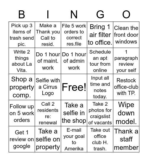 La Vita Office Fun Bingo! Bingo Card