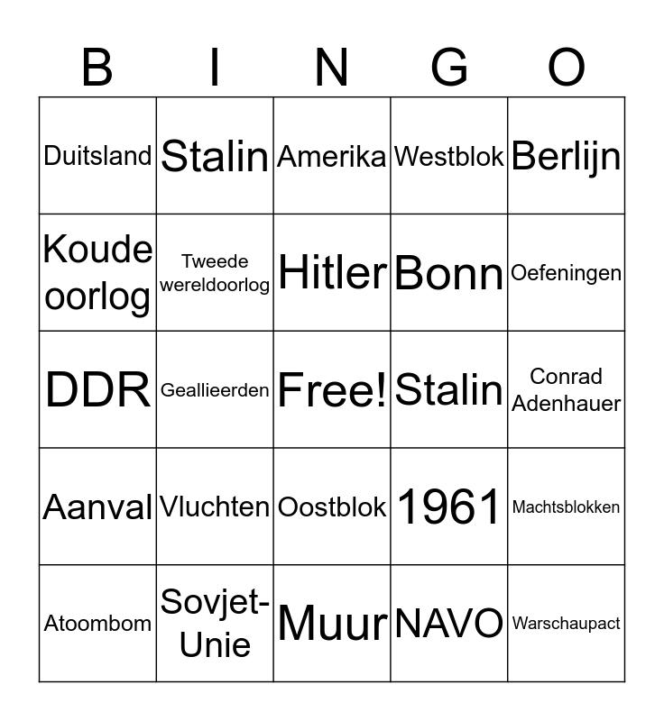 Koude oorlog bingo Card