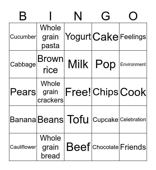 Canada  Food Guide  Bingo Card