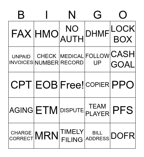AR Department - Bingo Card