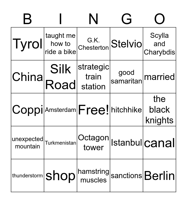 Please listen to the bike stories carefully and check off the key words that you heard! Bingo Card