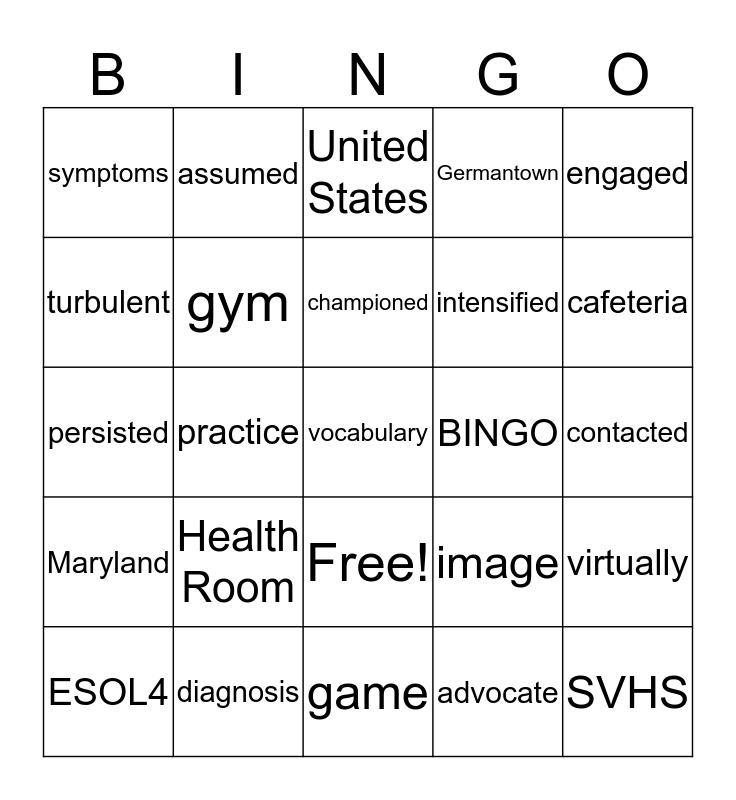 ESOL 4 Vocabulary List- Unit 4 REading 4 Bingo Card