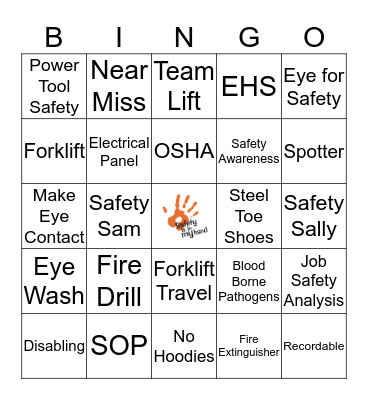 Safety Week Bingo Card
