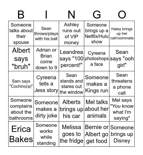 Round 2 Bingo Card