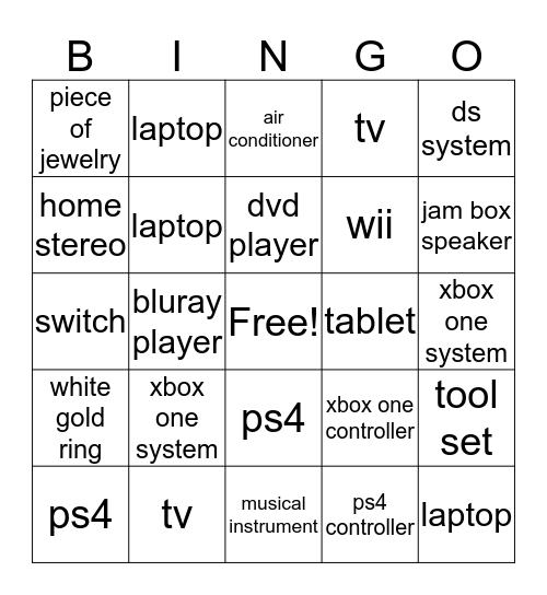 PURCHASE BINGO Card