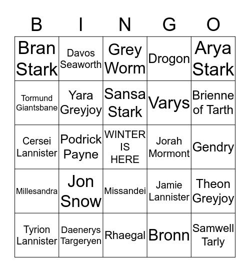 Game of Thrones- Season 8  Bingo Card