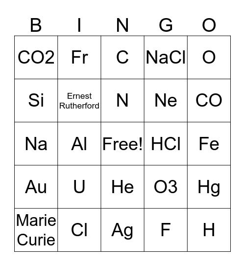 Chemistry Club BINGO -- 4/10/19 Bingo Card