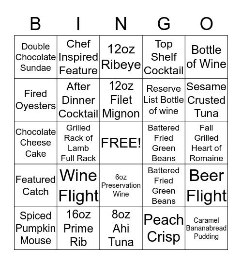 Menu Bingo Card