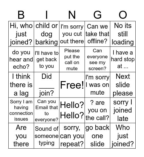 WEBEX and Conference Call Bingo Card