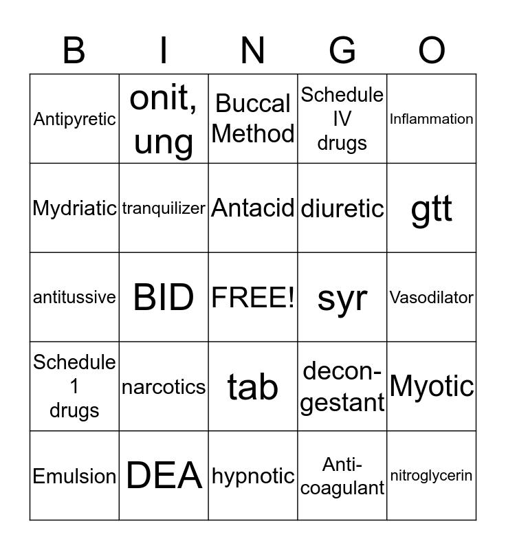 Pharmacology Bingo Card