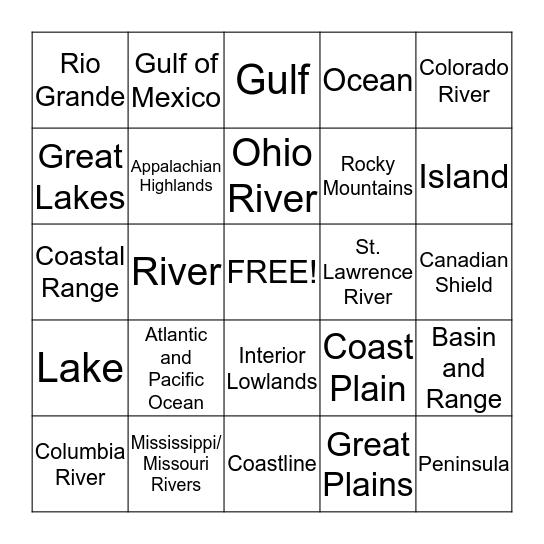 Major Bodies of Water Bingo Card