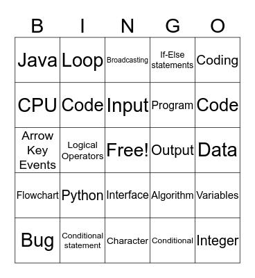 Computer Science Bingo Card